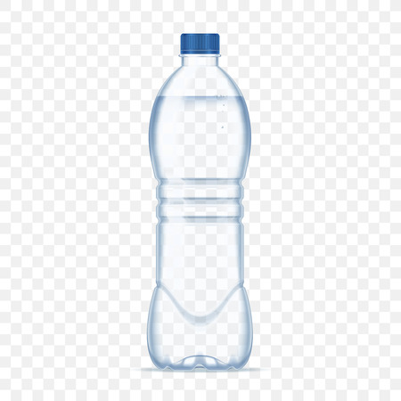 Plastic bottle with mineral water on alpha transparent background. Photo realistic bottle mockup vector illustration. Banco de Imagens