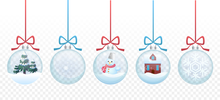 Set of vector Merry christmas glass ball toys collection on the transperant alpha background. Banco de Imagens - 90420574