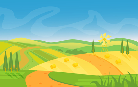 Rural beautiful landscape. Fields and hills at dawn vector illustration.