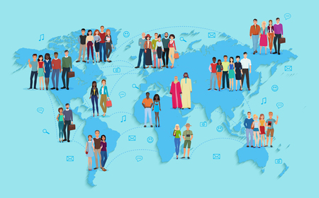 Vector illustration of social and demographic world map on blue background. Multi ethic people in groups. Stock Illustratie