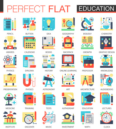 Education vector complex flat icon concept symbols for web infographic design.