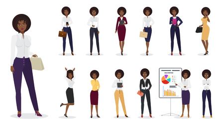 Vector Cartoon african american businesswoman female standing in different positions. Woman character set.