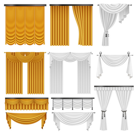 Golden and white velvet silk curtains and draperies set. Interior realistic luxury curtains decoration design Illustration