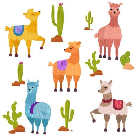 Vector Set of cute cartoon lamas characters with cactus Vettoriali