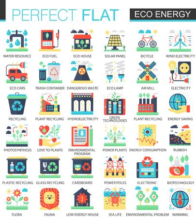 Eco energy vector complex flat icon concept symbols for web infographic design.