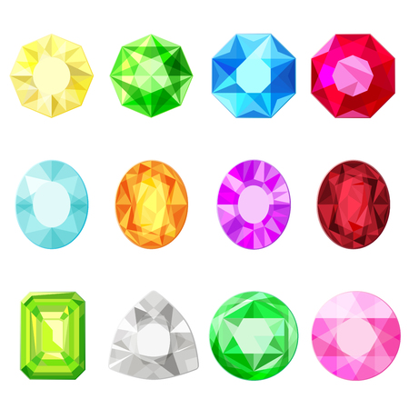 Vector jewels diamonds gem stickers set.