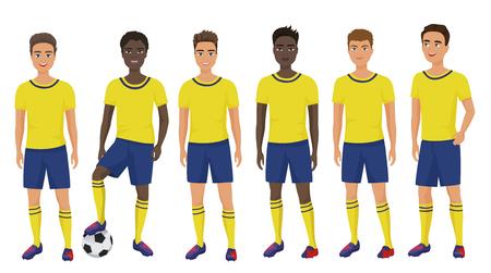 Vector el equipo joven de los muchachos del fútbol de la escuela plana en uniforme aislado.