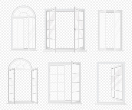 Vector set of realistic windows isolated on the alpha transperant background. Banco de Imagens - 92746245
