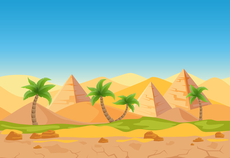 Cartoon nature sand desert game style landscape with palms, herbs and Egyptian pyramids