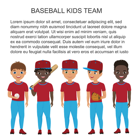 Vector School baseball kids team in uniform