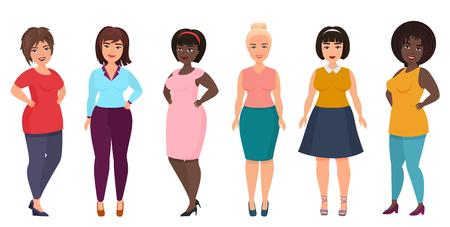 ベクトルプラスサイズの女性のファッション。カジュアルなドレスの服を着た曲線、太りすぎの女の子