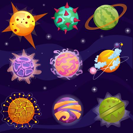 Vector Cute cartoon fantasy fantastic planets set on galaxy stars background Illustration