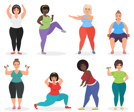 Set of cute plus size curved women doing fitness exercise. Fat woman sport and fitness Illustration
