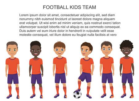 Vector school voetbal voetbal kinderen team in uniform geïsoleerd