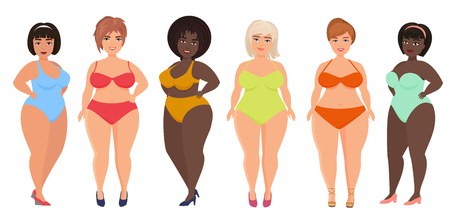Cartoon vector beautiful plus size curved women in underwear, bathing suit, female swimsuits.