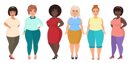 Desenhos animados do vetor felizes e sorrindo mais fêmeas da mulher do tamanho. Curvy, garota com excesso de peso em roupas de vestido casual.