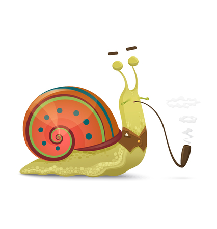 Cute snail gentleman with smoking pipe isolated in white background.