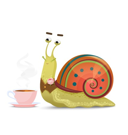 Cute snail gentleman sitting with cup of tea or Coffee isolated on white. Stock Photo