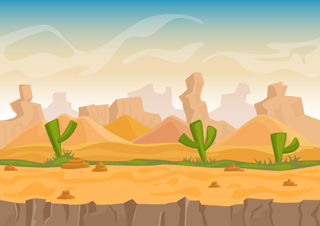Cartoon sand and stone rocks desert landscape with cactuses and stone mountains. Vector game style vector illustration  イラスト・ベクター素材