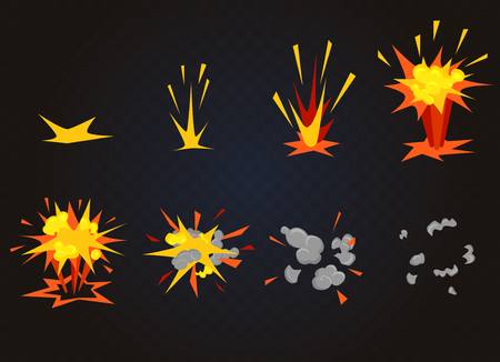 Vector cartoon front boom explosion effect with smoke. Flash explode animation for game.