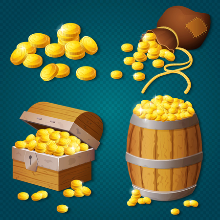 Old wooden chest, barrel, old bag with gold coins. Game style treasure vector illustration. Çizim