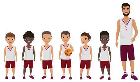 Vector Cartoon flat school boys basketball kids team standing with their trainer. Illustration