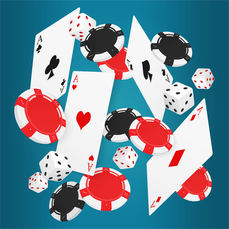 Falling aces cards with red and black chips and different dice on blue background. Illustration