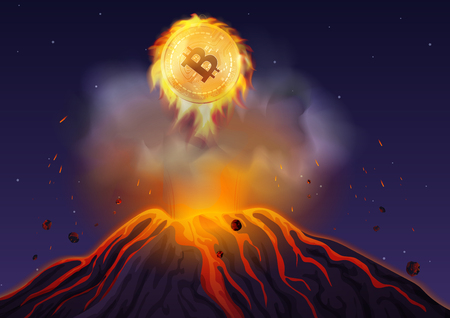 Vector illustration of bitcoin in fire flying out of volcano at night. Bitcoin volcano explosion.