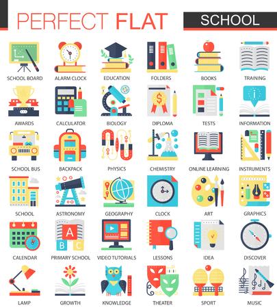 School edication vector complex flat icon concept symbols for web infographic design.