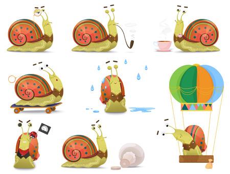 Set of cute gentleman snail in waistcoat activities vector illustration.