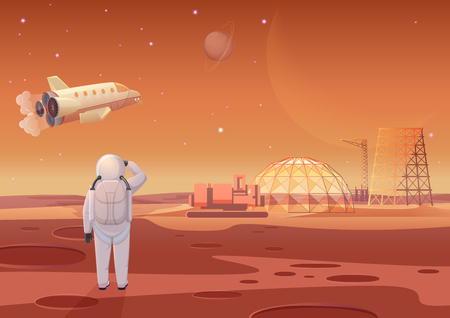 Vector illustration of astronaut standing at Mars colony and looking at flying spaceship.