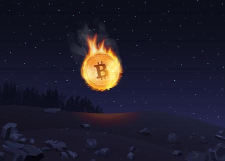 Vector illustration of bitcoin in fire falling to the ground at night. Ilustração