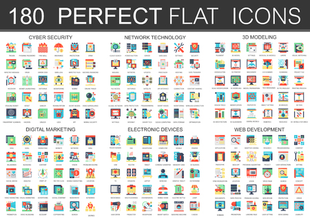 180 vector complex flat icons concept symbols of cyber security, network technology, web development, digital marketing, electronic devices, 3d modeling icons. Web infographic icon design.