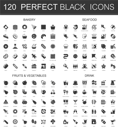 Bakery, seafood, fruits and vegetables, drinks black classic icon set. Vectores