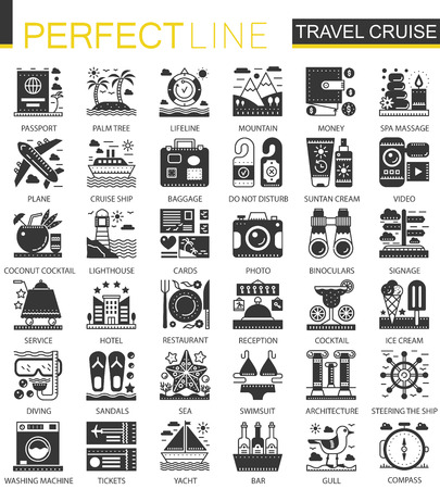 Travel cruise vacation black mini concept icons and infographic symbols set