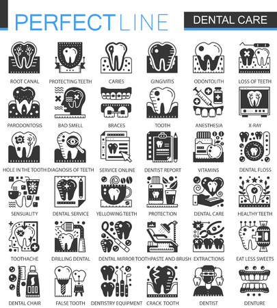 Vector Dental care black mini concept icons and infographic symbols set