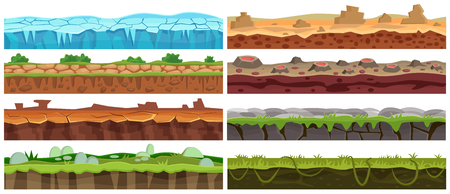 A Seamless cartoon vector landscape design set. Ground floor collection for game interface.