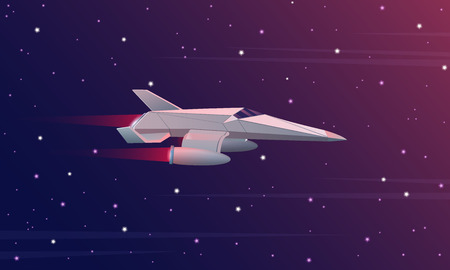 Vector illustration of small spaceship flying in outer space. Galaxy space forces. Çizim