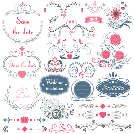 Romantic hand drawn vector wedding graphic set of frames, arrows, flowers, laurel, wreaths, ribbons and labels.