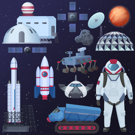 Vector illustration of different spacecraft elements, astronaut in spacesuit, colonization buildings, satellite spaceship and rocket.