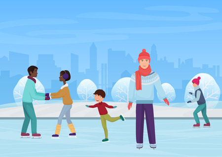 The people skating on an open-air rink in the winter vector illustration.