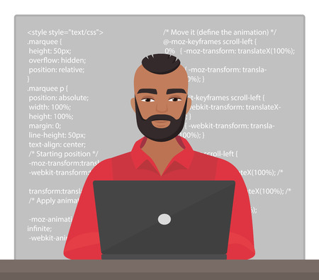 Vector stylish black man programmer sitting at the desktop and working on the laptop with code. Professional character freelancer coding.