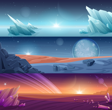 Fantastic alien planet horizontal banners landscape background set.