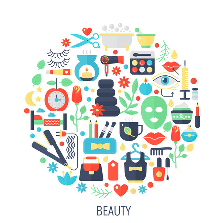 Beauty cosmetics flat info-graphics icons in circle - color concept illustration for woman beauty cover, emblem, template.
