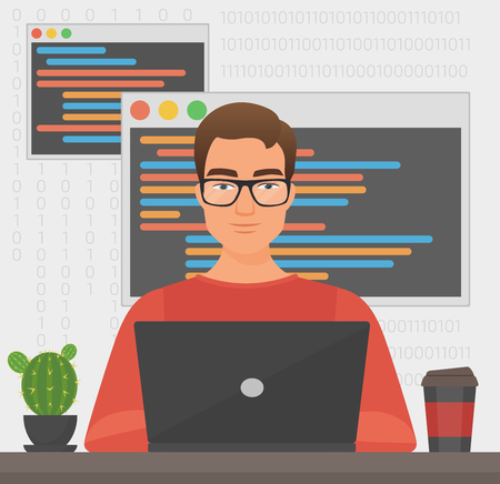 Man programmer is working with laptop code. Programmer coding.