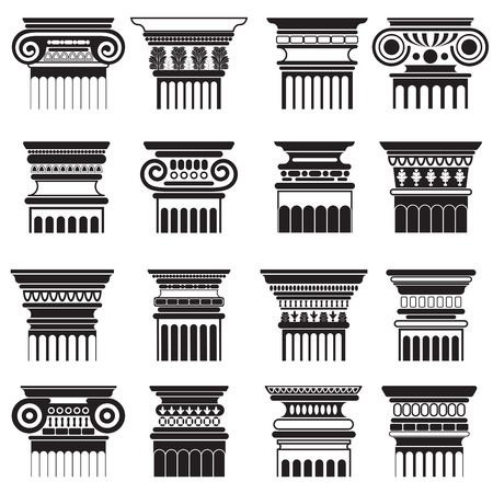 Vector ancient Greek Rome column capitals silhouette set.