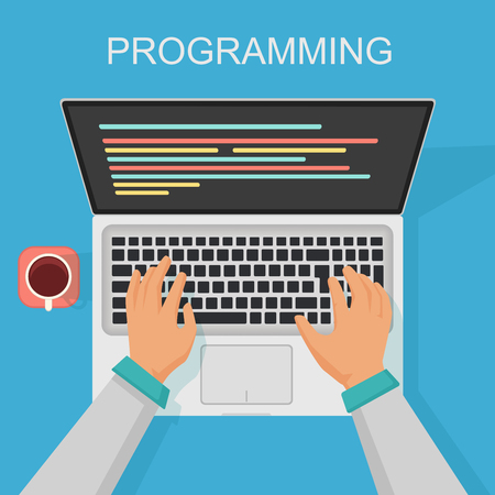 Vector programming, coding web development concept. Programmer top view with screen code.