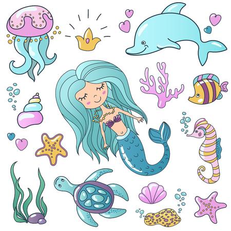 Marine illustrations set. Vector sea theme. Ilustracja
