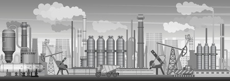 Vector heavy industrial landscape background. Industry, factory and manufacture. Environment pollution.