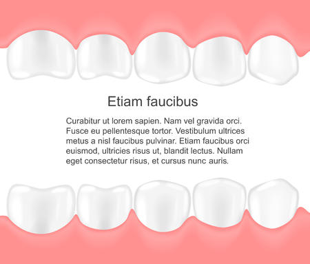 Human teeth in mouth infographics. Dental care concept. Çizim